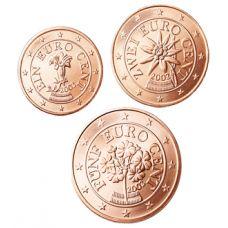 Itävalta 2008 1 c, 2 c, 5 c Irtokolikot UNC