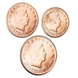 Luxemburg 2005 1 c, 2 c, 5 c Irtokolikot UNC