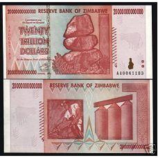 Zimbabwe 20 000 000 000 000 $ 20 Trillion Dollars P89 UNC