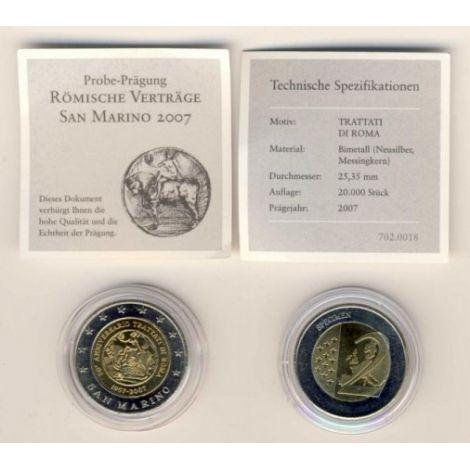 San Marino 2007 2 € Rooman sopimus TESTI