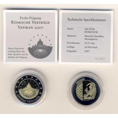 Vatikaani 2007 2 € Rooman sopimus TESTI