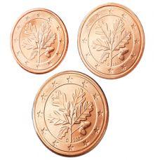 Saksa 2005 1 c, 2 c, 5 c F Irtokolikot UNC