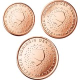 Alankomaat 1999 1 c, 2 c, 5 c Irtokolikot UNC