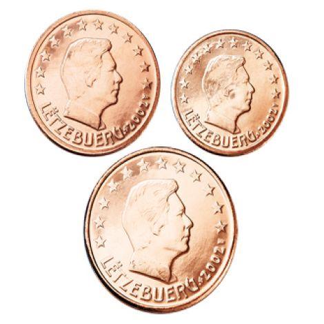 Luxemburg 2002 1 c, 2 c, 5 c Irtokolikot UNC