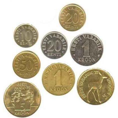Viro 1994-2008 10 sentti - 5 krooni Sekavuosi Irtokolikot UNC