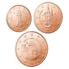 San Marino 2004 1 c, 2 c, 5 c Irtokolikot UNC