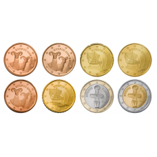 Kypros 2009 1 c - 2 € Irtokolikot UNC
