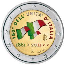 Italia 2011 2 € 150 vuotta Italian yhdistymisestä VÄRITETTY