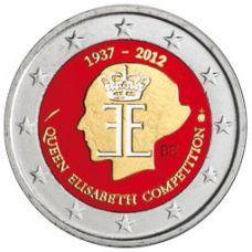 Belgia 2012 2 € Kuningatar Elisabeth -musiikkikilpailu 75 vuotta VÄRITETTY
