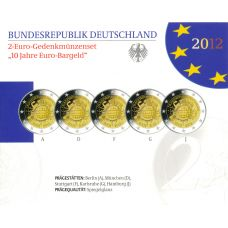 Saksa 2012 2 € Euro 10 vuotta ADFGJ PROOF