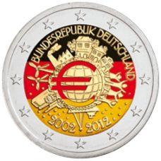 Saksa 2012 2 € Euro 10 vuotta VÄRITETTY